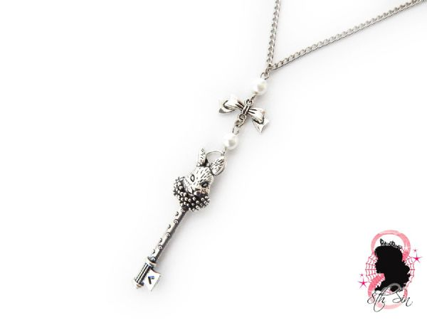 Antique Silver Rabbit Key Necklace